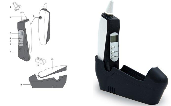 Nhiệt Kế Đo Tai Bằng Tia Hồng Ngoại (Có Nắp Lọc) Hubdic Thermo Buddy - HDTB100